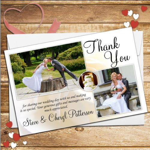 10 Personalised Wedding Day Thank you Photo cards N93